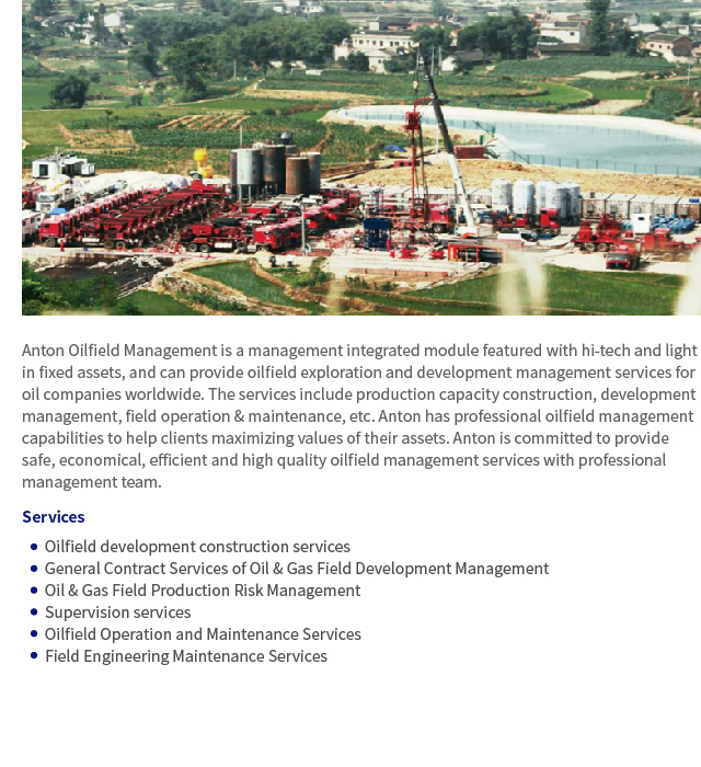Oilfield Management and Oil&Gas Development General Contract Service
